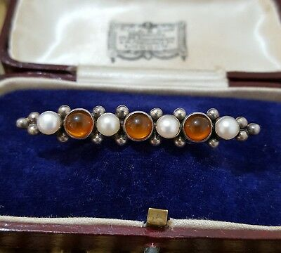 Janice Girardi Vintage Sterling Silver Brooch, Amber & Cultured Pearls, Signed