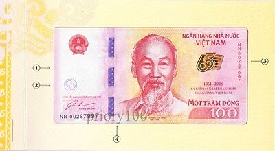 Vietnam lot 10 banknotes of 100 dong commemorative 2016 with booklet (=10 pcs)