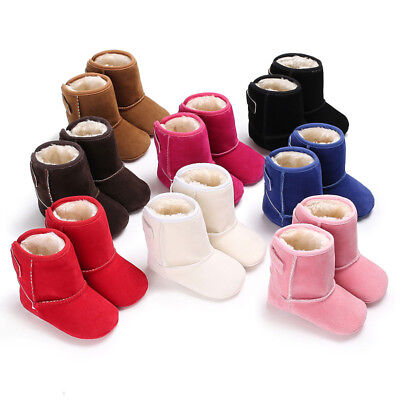 Newborn Baby Boy Girl Kid Snow Boots Winter Warm Soft Sole Crib Shoes Booties UK