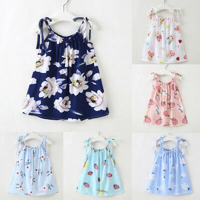 Baby Girl Loose Strap Sundress Tops Vest Casual Princess Outfit Clothes Dress