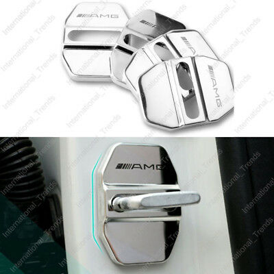 4Pcs/Lot Silver Stainless Steel Door Lock Decoration Cover Sticker for AMG Benz