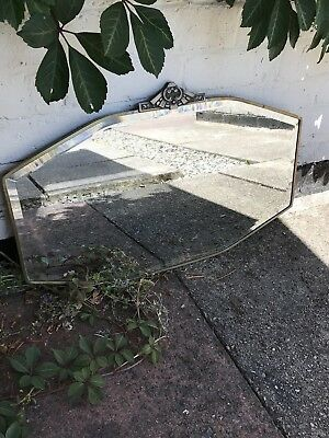 ANTIQUE GOLD ROCCO ORNATE WALL MIRROR 1920s BATHROOM OLD MIRROR METAL