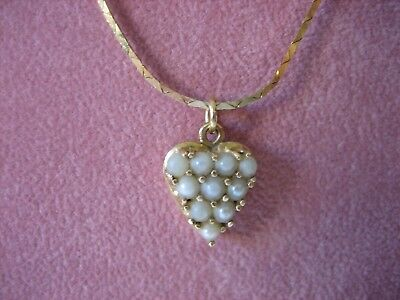 Estate Vintage 14K Yellow Gold Forever Seed Pearl Pendant Necklace 4.4 Grams
