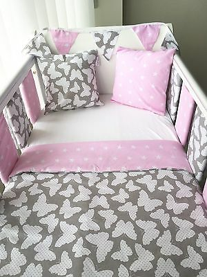 Handmade Baby Quilt Cot And Cot Bed Size Grey Butterfly & Pink Stars Girls 💖🦋