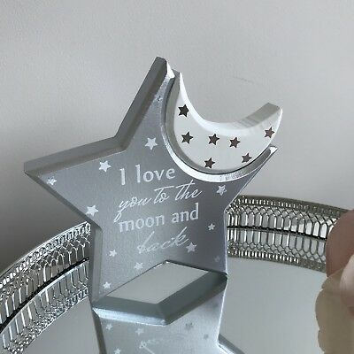 New Nursery Mantle Plaque I Love You To The Moon And Back grey Silver white gift