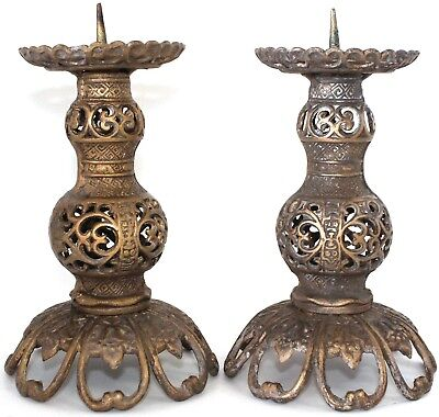 Vintage Cast Iron Candle Holder Gold Bronze Color Japan Scallop Scroll Pair