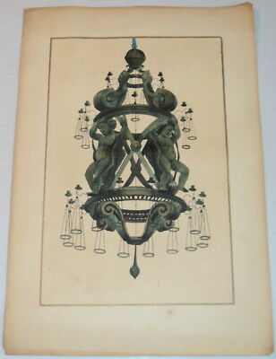 HAND-COLORED PRINT of GALILEO CHANDELIER - Inscribed to architect M.T. Reynolds