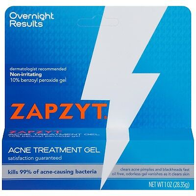 Zapzyt Benzoyl Peroxide 10% Acne Spot Treatment Gel 1 oz