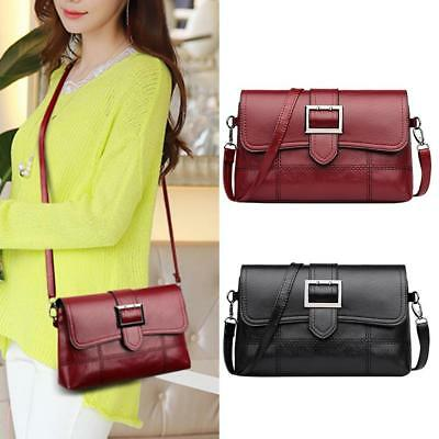 Women Girl Messenger Bag PU Leather Handbag Pure Flap Shoulder Crossbody Satchel