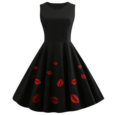 Women's Vintage 50s Red Lip Embroidery Rockabilly Evening Party Prom Swing Dress