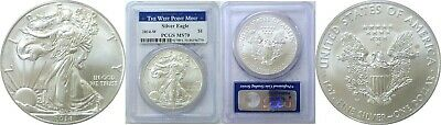 2014-W $1 Burnished American Silver Eagle PCGS MS70 West Point Label Spots