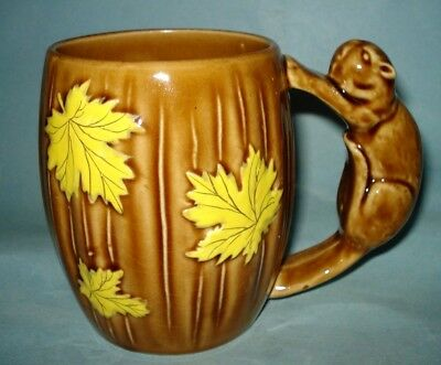 Vintage 1950 Ceramic MAPLE LEAF BEAVER COFFEE MUG TEA CUP Shafford Hand Painted