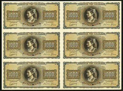 """UNC"" Face Proof 1942 Greece 1000 Drachmai, Uncut Sheet of 6, P-118ap"