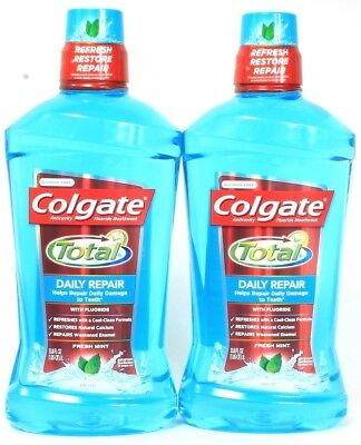 2 Colgate Total Daily Repair With Calcium Fluoride Mouthwash Fresh Mint 33.8 oz