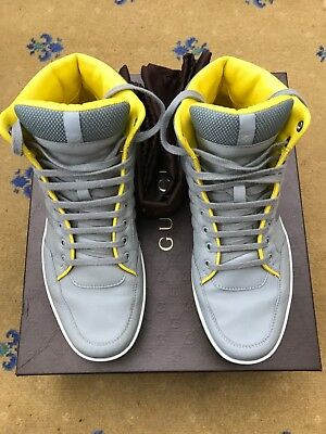 3355d7f34fa Gucci Mens Trainers Sneakers High Top Grey Leather Shoes UK 7.5 US 8.5 EU  41.5