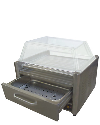 Bakemax Bmhbw09 Hot Dog Rollers W/ One Warmer Drawer And Sneeze Guard  (3 In 1)