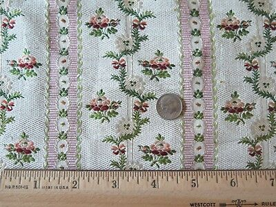 "French Lyon 18thC Floral Silk Brocade Fabric c1780~Stripe Layout~15""LX9""W~Dolls"