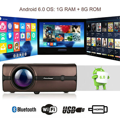WiFi 4K 3D Android 1080P LED Projector Home Theater Cinema 8GB Bluetooth TV/HDMI