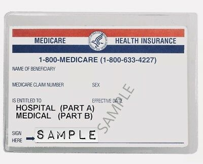 """TWO (2) Medicare Card Protectors Clear Plastic Cover Sleeves 3-3/4""""x 2-3/4"""""""