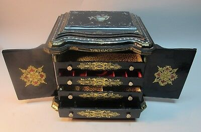 Superb 19th C. ENGLISH PAPIER MACHE Sewing Kit & Lap Desk  c. 1880  antique