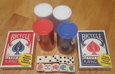 Bicycle Poker Chips 2 Decks Cards 10 Dice Party Games Gambling
