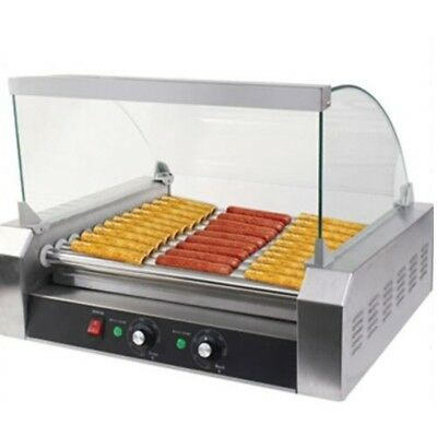 11-Roller Stainless Steel Grill Cooker Machine 30 Hot Dog Roller Commercial US