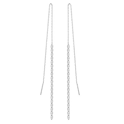 """Sterling Silver 925 Pull Through Threader Drop Dangle Earrings  New  3.5/"""" Long"""