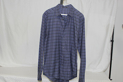 019d9ad5956f MENS GUCCI BLUE And White Plaid Long Sleeve Button Down Shirt Size ...