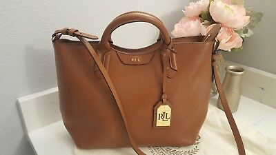ea75cbfe6e LAUREN RALPH LAUREN Newbury Satchel Cognac Bourbon Tan Leather Crossbody  Handbag
