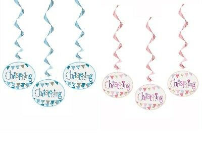 Christening Hanging Party Banner Bunting Boy Girl Pink Blue Decorations Banners