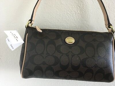 NWT COACH 52187 Shoulder Bag purse Peyton Signature Top Handle Pouch Brown New