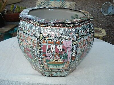 Antique Huge Chinese Porcelain Octagon Fish Bowl, 19Th Century.