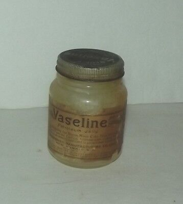 Vintage Vaseline Petroleum Jelly With Label And Embossed Glass Jar Chesebrough