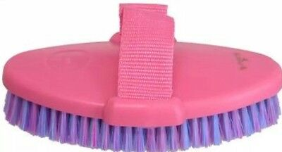 Tri Colour Brush Horse Body Dog Cow Cat Grooming With Strap 185mm - 100mm   NEW