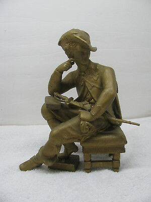Old Cast Metal French Scholar Soldier Clock Topper with Book & Sword