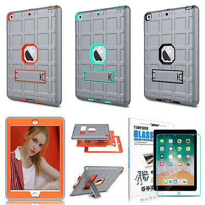 For iPad 9.7'' 2018 6th Gen/ 2017 5th Gen Shockproof Stand Case+Screen Protector