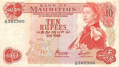 Mauritius  10  Rupees  ND. 1967  P 31c  Series  A/49  Circulated Banknote jw618