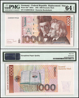 Germany 1,000 - 1000 Deutsche Mark, 1993, P-44b, Replacement, SN # 99A8, PMG 64