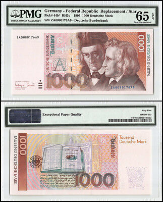Germany 1,000 - 1000 Deutsche Mark, 1993, P-44b, Replacement, SN # 76A9, PMG 65