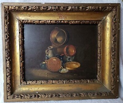 Antique Oil Painting on Oak Panel Signed and Dated 1852 LeFlink