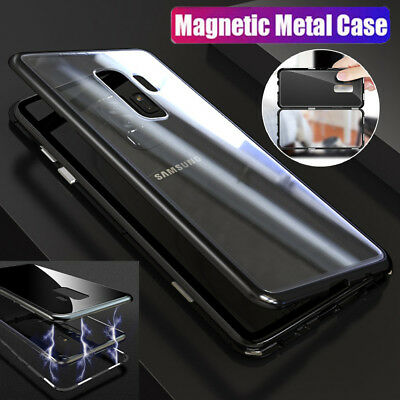 Magnetic Adsorption Metal Tempered Glass Back Case Cover For Samsung S9 S8 Plus
