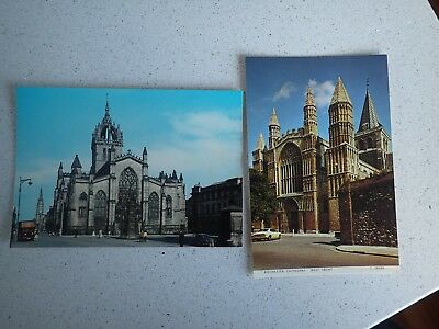 St Giles Cathedral Edinburgh & Rochester Cathedral Postcard (L1)