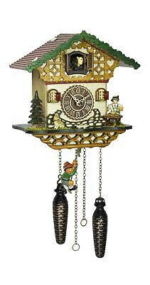 Quartz Cuckoo Clock Black forest house with music and swing  TU 4264 QMS NEW