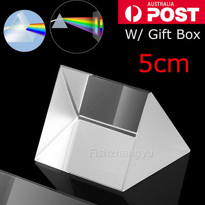 5cm Optical Glass Triple Triangular Prism Physics Refractor Light Spectrum OZ