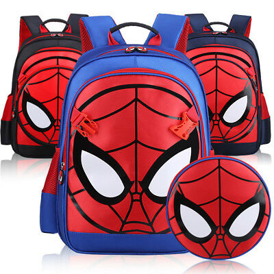 3D Spiderman School Bag Backpack Three Colors For Boys Kids Children Gift