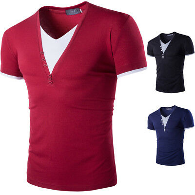 US Men Slim Fit V Neck Short Sleeve Muscle Tee T-shirt Ripped Casual Tops Blouse