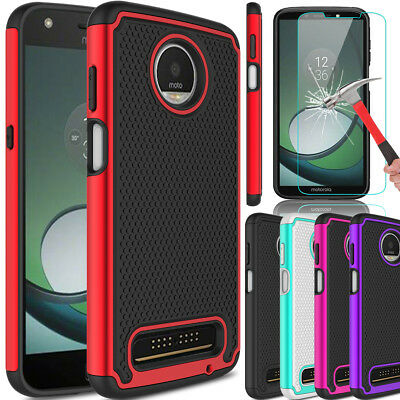 For Motorola Moto Z3 Play Shockproof TPU Hard Armor Case+Glass Screen Protector