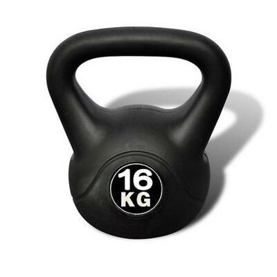 KETTLEBELL 16kg 23x23x32cm Concrete With Plastic Coated, Black 1Piece