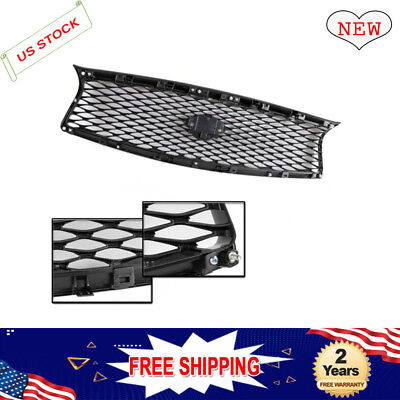 Black Front Mesh Upper Grill Replacement Fit for 2014-2017 Infiniti Q50 Models
