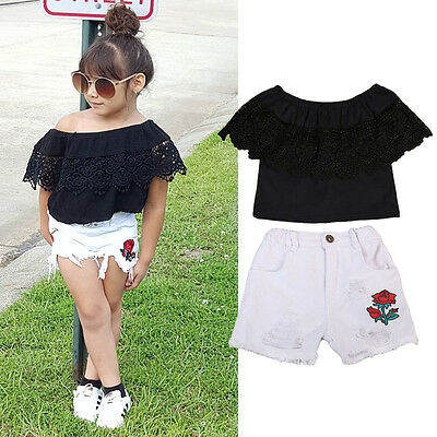 US Stock Kids Baby Girl Off Shoulder Lace Tops+Denim Floral Shorts Pants Outfits